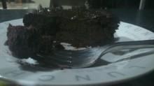 Flourless Chocolate Aubergine Cake almost finiahed.