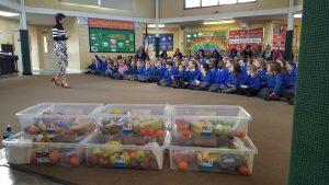 Nutrition talk with school children.