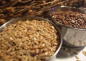 Two bowls of linseeds used to fight constipation.